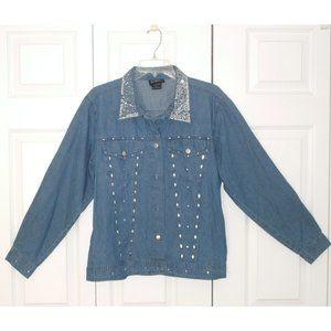 Las Olas Jeweled Lightweight Blue Jean Jacket, XL